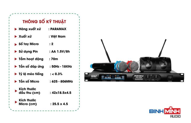 Thông số kỹ thuật Micro không dâyParamax PRO-8000