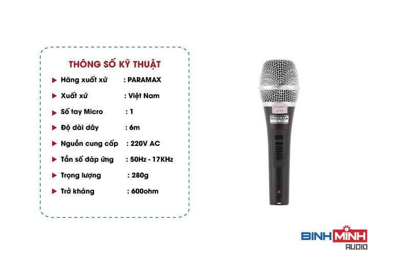 Thông số kỹ thuật Micro có dây Paramax Pro-999