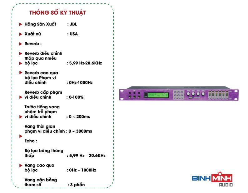 Thông số kỹ thuật Vang Số JBL X6