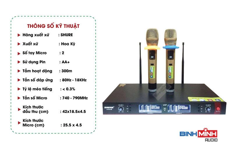 Thông số kỹ thuật micro không dây Shure UGX9 III