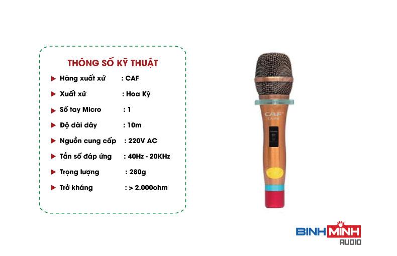 Thông số kỹ thuật micro Karaoke có dây CAF CA-P6