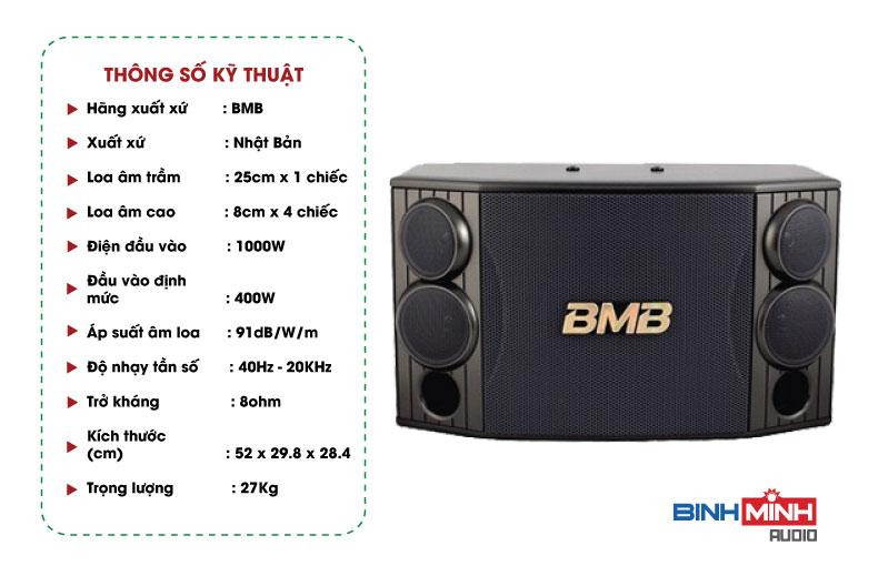 Thông số kỹ thuật Loa karaoke BMB CSD 880