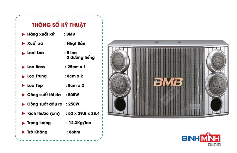 Thông số kỹ thuật Loa karaoke BMB CSX 850 SE