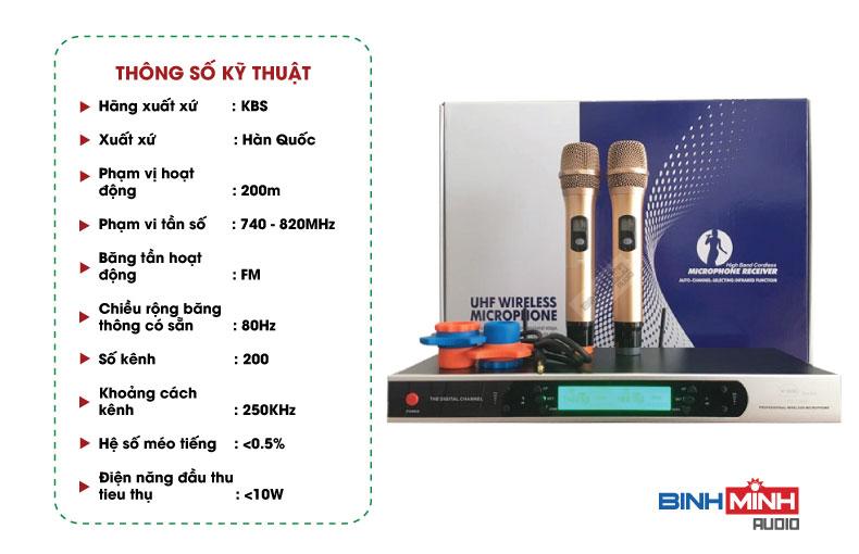 Thông số kỹ thuật Micro KBS BS5200