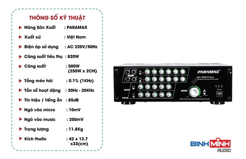 Thông số kỹ thuật Amply Paramax SA 999