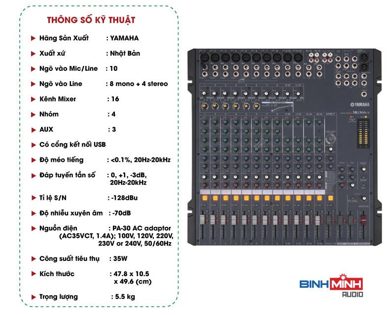 Thông số kỹ thuật Bàn Mixer Yamaha MG166CX