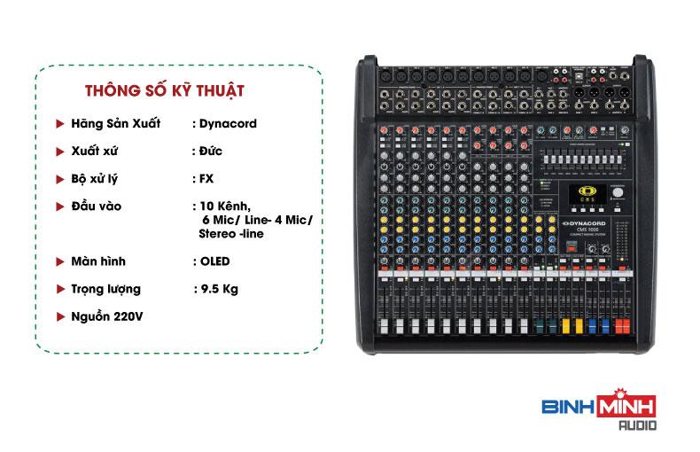 Thông số kỹ thuật Bàn Mixer Dynacord CMS 1000