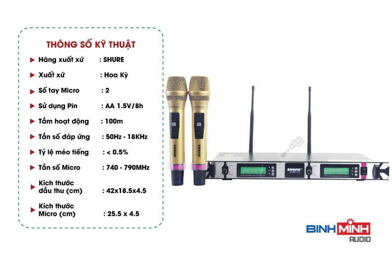 Thông số kỹ thuật micro không dây Shure UGX9 Plus