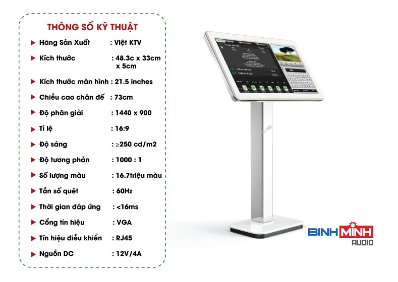 Thông số kỹ thuật màn hình cảm ứng Việt KTV 21 inch