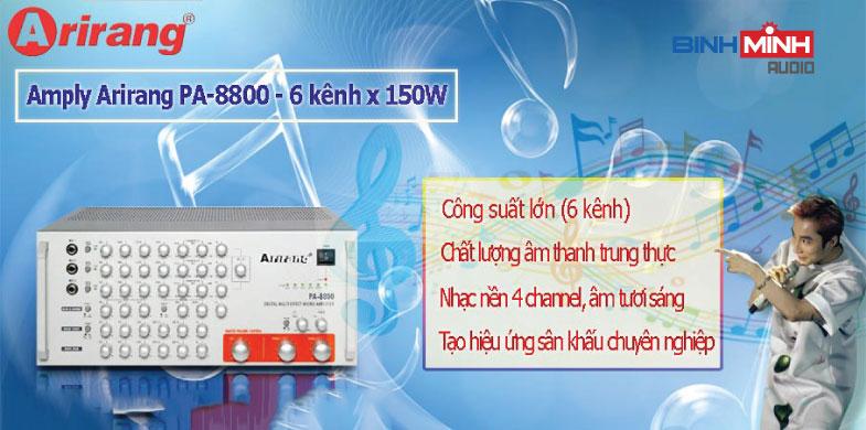 Amply Karaoke Arirang PA-8800 với 6 kênh cho công suất cực lớn