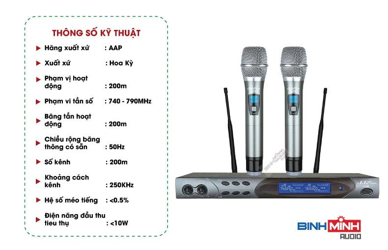 Thông số kỹ thuật micro AAP K800