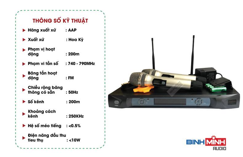 Thông số kỹ thuật micro AAP S300