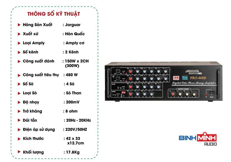 Thông số kỹ thuật Amply Jarguar Suhyoung Pro 468B