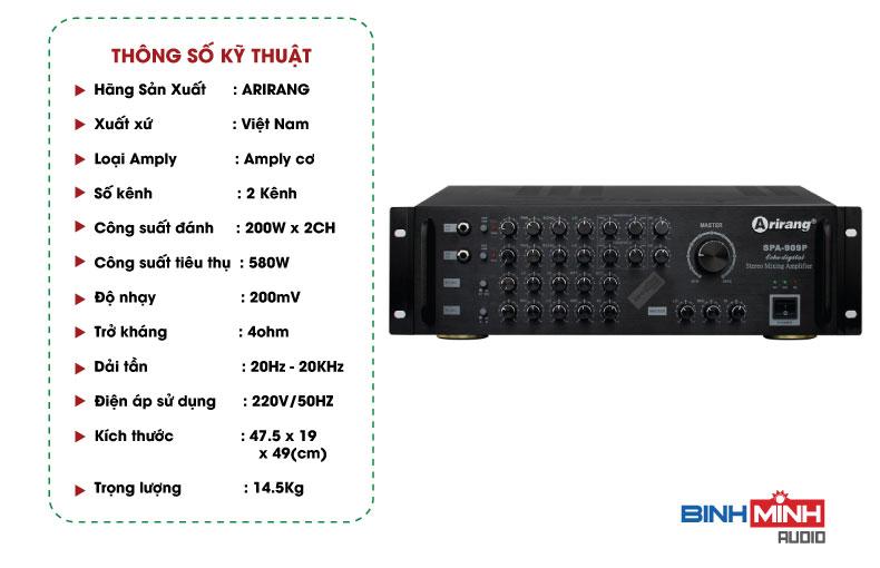 Thông số kỹ thuật Amply Arirang SPA 909P