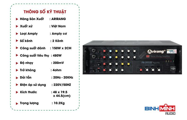 Thông số kĩ thuật Amply Karaoke Arirang SPA-203II
