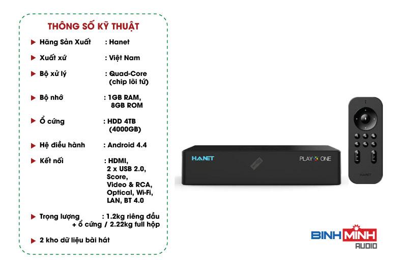 Thông số kỹ thuật đầu Karaoke Hanet PlayX One4TB