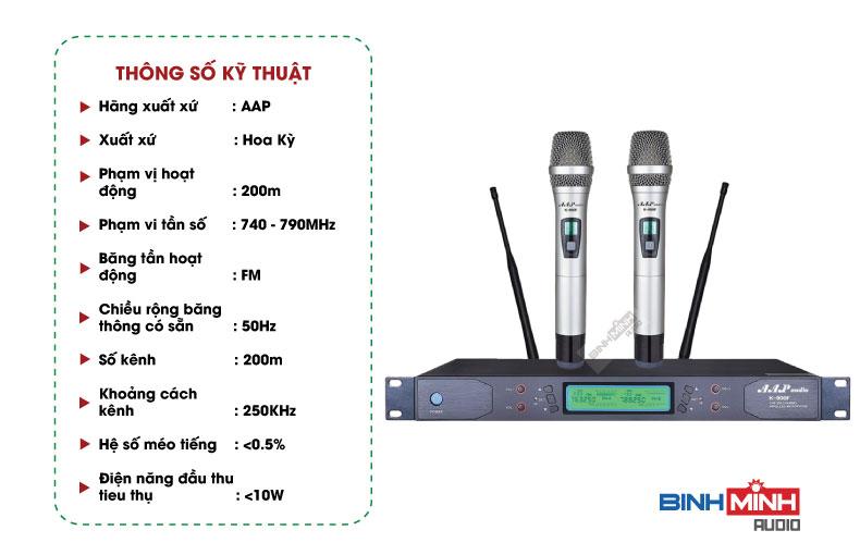 Thông số kỹ thuật micro AAP K900F
