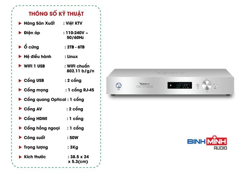 Thông số kỹ thuật Đầu karaoke VietKTV HD Plus 4TB
