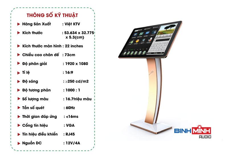 Thông số kỹ thuật màn hình cảm ứng Việt KTV 22inch