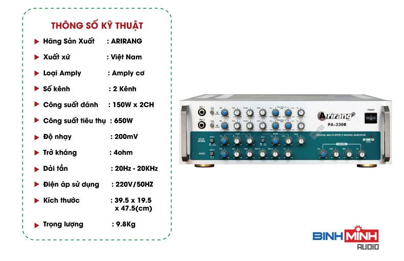 Thông số kỹ thuật Amply KaraokeArirangPA 330R