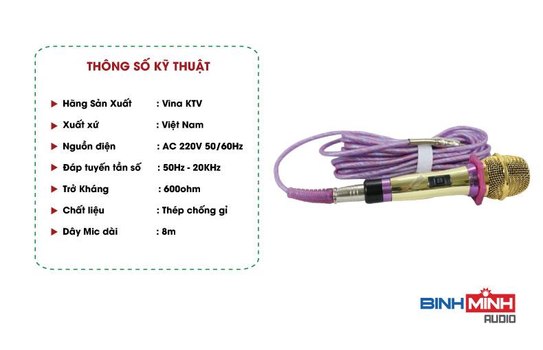 Thông số kỹ thuật micro có dây VinaKTV VN939