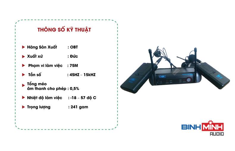 Thông số kỹ thuật Micro không dây cài áo OBT 5320