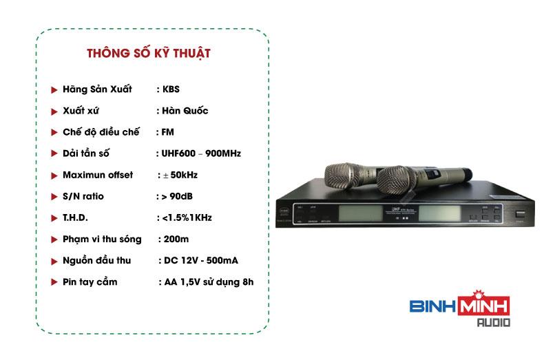 Thông số kỹ thuật Micro KBS C2018H