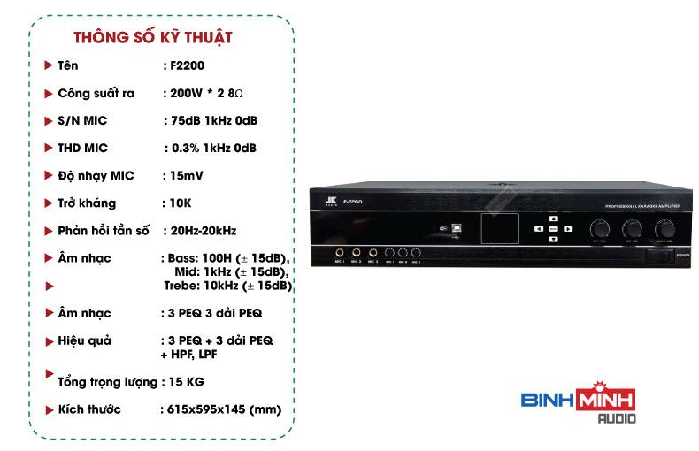 Thông số kỹ thuật Amply JK Audio F2200