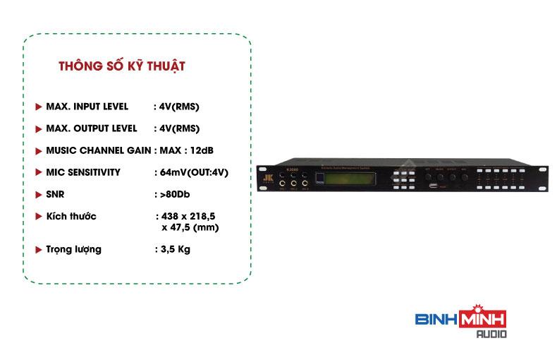 Thông số kỹ thuật Vang Số JK Audio K3000