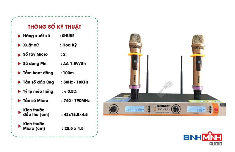 Micro không dây hội trường shure ugx9 ii