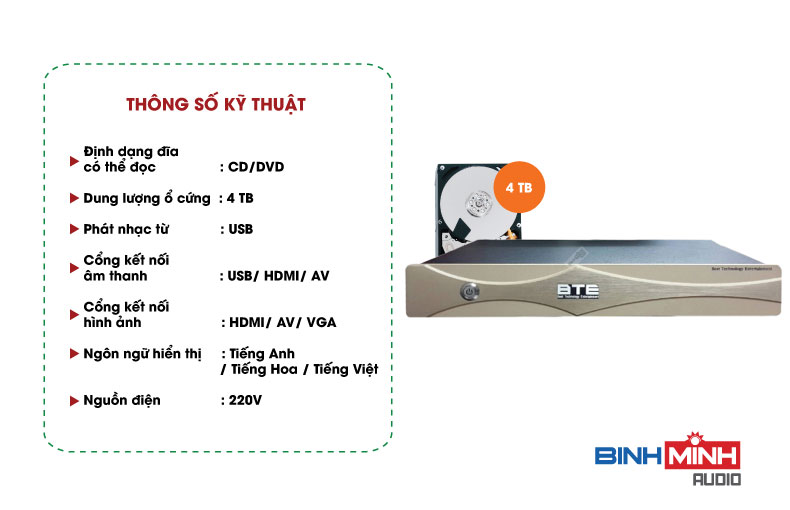 Thông số kỹ thuật đầu Karaoke BTE S600 4TB
