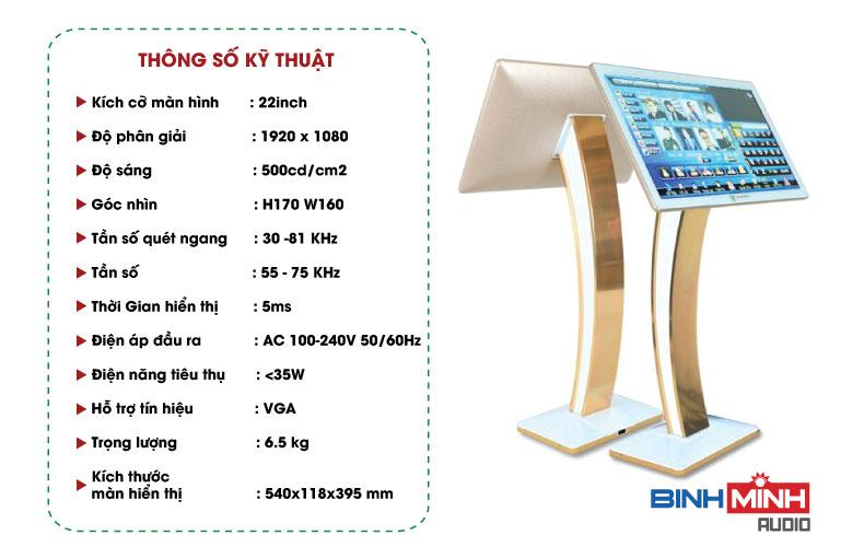 Thông số màn Hình Cảm Ứng Vina KTV 22 Inch Gold