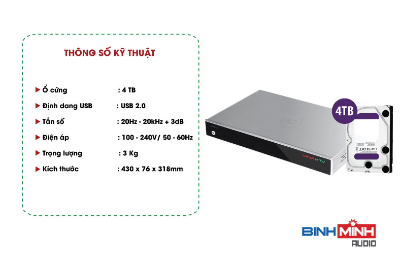Đầu Karaoke VOD V6++HD VinaKTV 4TB
