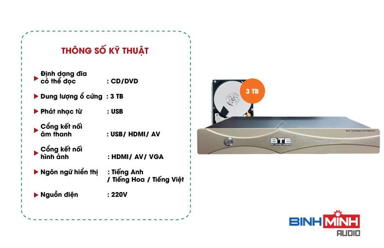 Thông số kỹ thuật đầu Karaoke BTE S600 3TB