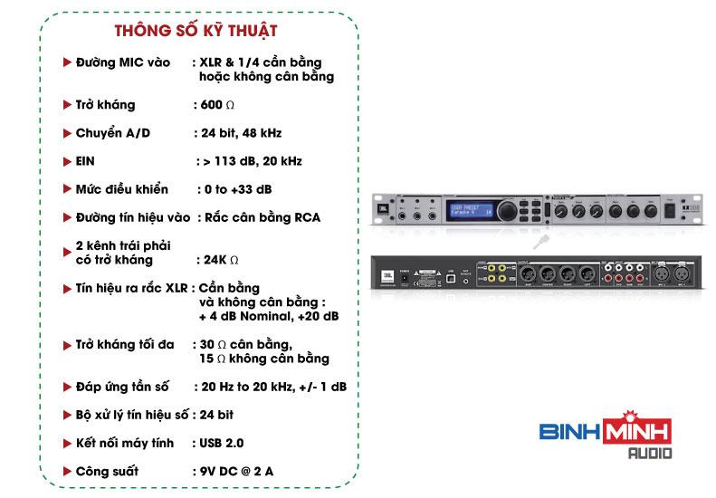 Thông số kỹ thuật Vang số JBL KX 100
