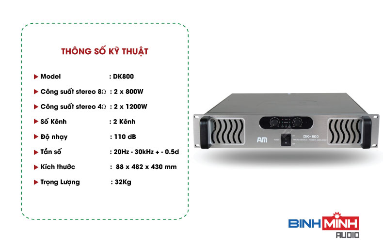 Thông số kỹ thuật Cục đẩy công suất AM DK800