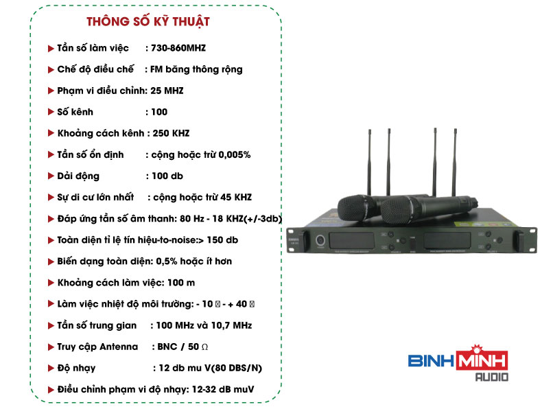 Thông số kỹ thuật micro không dây Shure UR18D