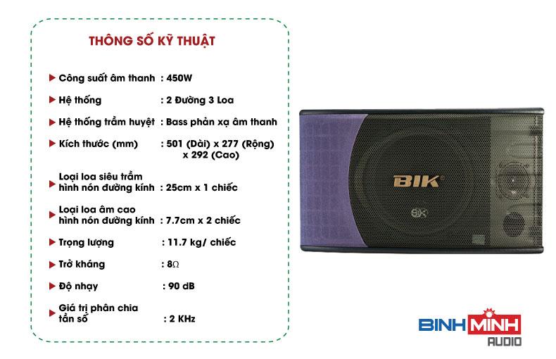 Thông số kỹ thuật Loa karaoke BIK BS 880SV