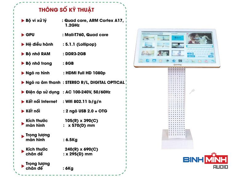 Thông số kỹ thuật đầu liền màn karaoke Arirang K1