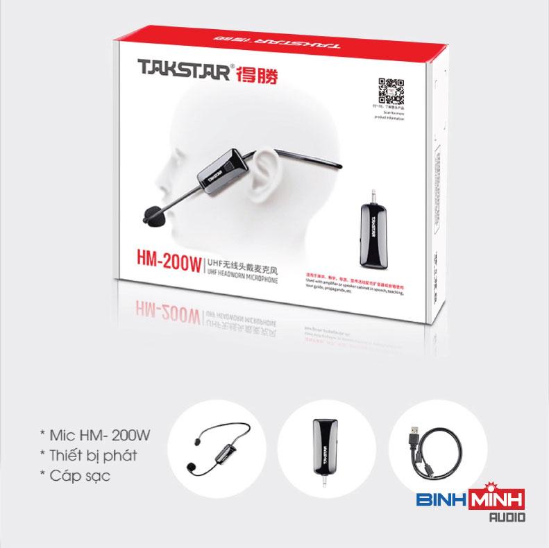 Trọn bộ sản phẩm Micro không dây đeo tai TakStar HM 200W