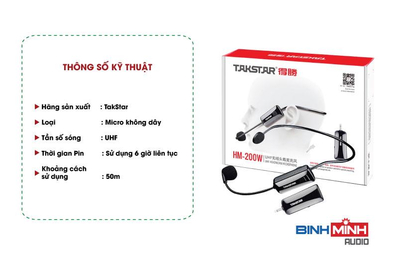 Thông số kỹ thuật Micro không dây đeo tai TakStar HM 200W