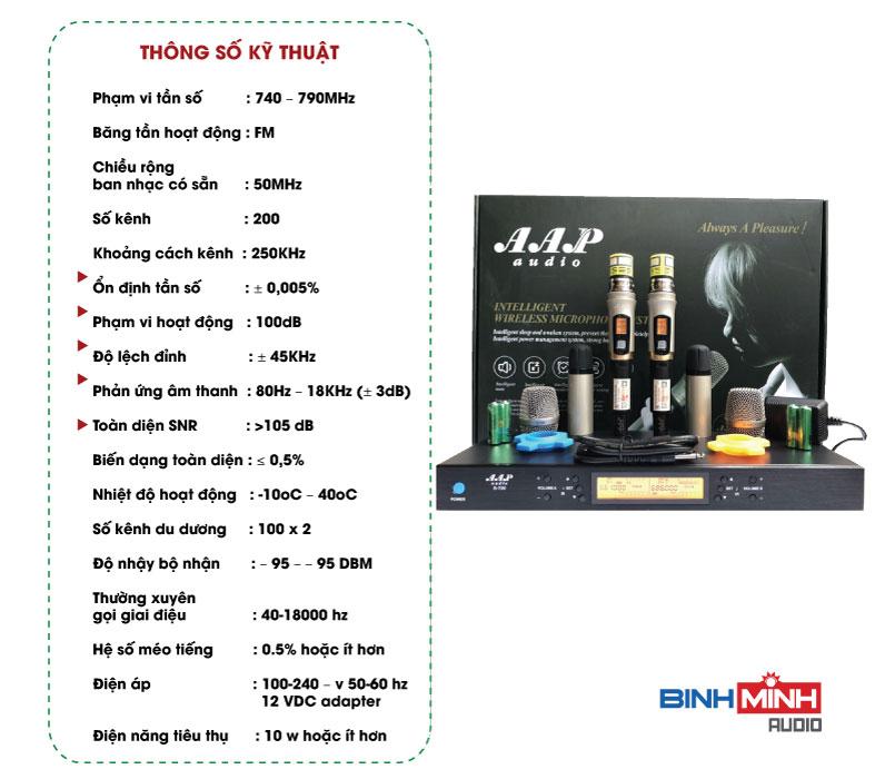 Thông số kỹ thuật micro không dây AAP S700